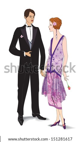 Couple on party. Man and woman in cocktail dress in vintage style 1920's. Portrait of an attractive flapper girl with her boyfriend. Retro fashion vector illustration isolated on white background. - stock vector