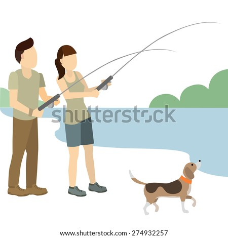 Couple or friend man and woman fishing a vector illustration isolate on white background. - stock vector