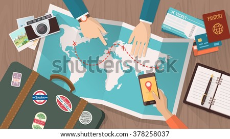 Couple planning a trip around the world, he is pointing on a map and she is using a mobile app, vacations and holidays concept - stock vector