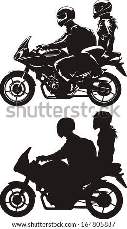 couple riding a motorcycle - stock vector