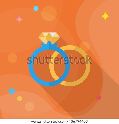 Couple rings and engagement icon, Vector flat long shadow design. Fall in love - stock vector