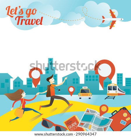 Couple run to City Travel, Tourist, Sightseeing, Journey, Inspiration and Concept - stock vector