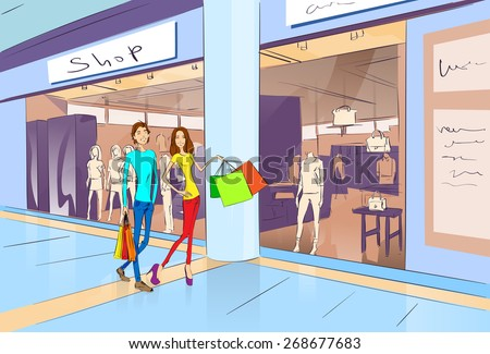 Couple Shopping Man and Woman Walking with Bags in Modern Luxury Shop Mall Center Vector Illustration - stock vector