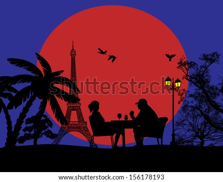Couple silhouette in cafe in front of Eiffel tower , vector illustration - stock vector
