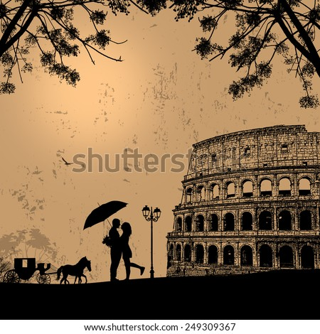 Couple silhouette in love in front of Colosseum in Rome on vintage background - stock vector