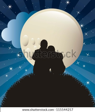 couple silhouette in the night. vector illustration - stock vector