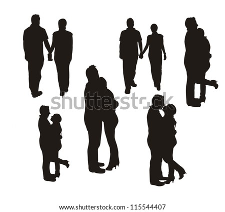 couple silhouette isolated over white background. vector - stock vector