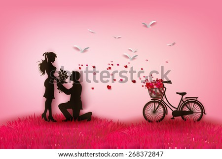 couple silhouette with hearts.paper art style. - stock vector