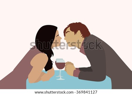 Couple Sitting Cafe Table Drink Vine Kiss Romantic Love Silhouettes Dating Vector Illustration - stock vector