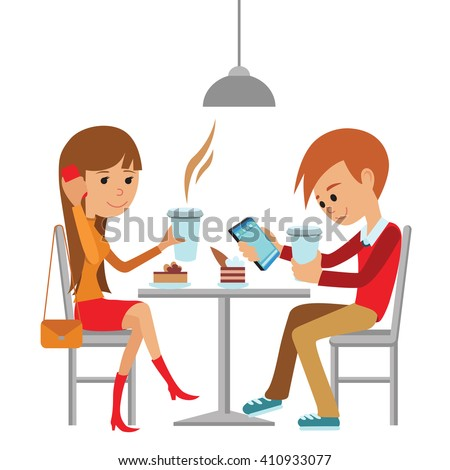 Couple sitting in the cafe, flirting and talking about something. Flat modern illustration of students using laptop. Vector drawing of template for menu, brochure. restaurant. - stock vector