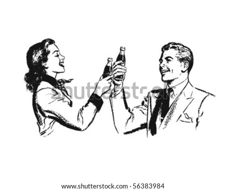 Couple Toasting - Retro Clip Art - stock vector