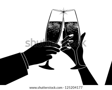Couple Toasting Silhouette - stock vector