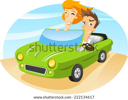 couple traveling on a sports car. - stock vector