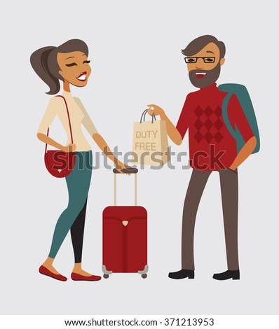 Couple traveling with hand baggage - stock vector