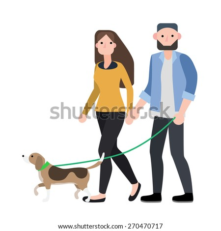 couple walking with their dog ,vector illustration isolate on white background. - stock vector