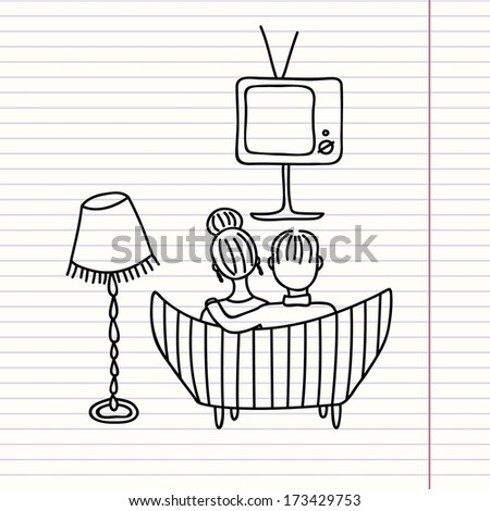 couple watching retro tv (cartoon doodle) - stock vector