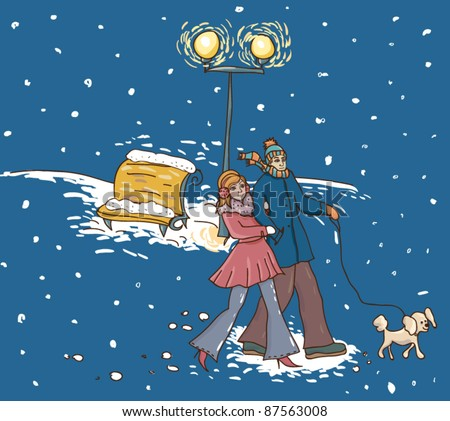 Couple with a dog walking at  a snowy alley in night lights.Illustration of a cartoon style. - stock vector