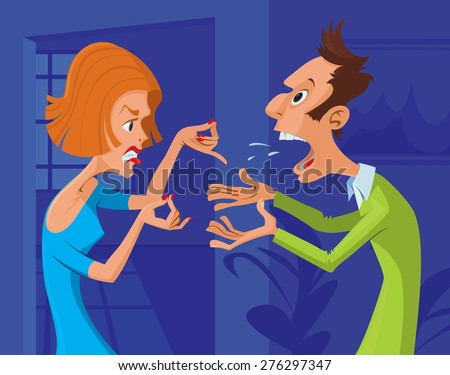 Couple yelling at each other in argument - stock vector