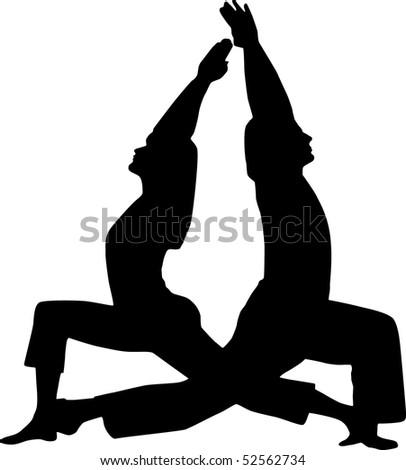 Couple yoga - stock vector