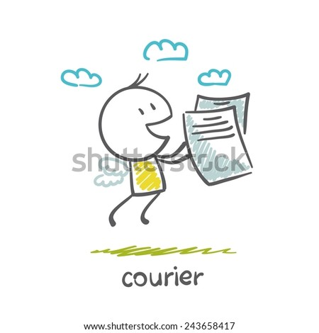 Courier flies documents illustration - stock vector