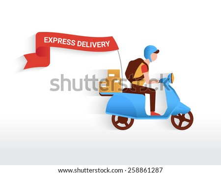 Courier riding blue motorbike with red flag to deliver mails to the clients - stock vector