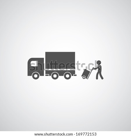 courier services symbol on gray background  - stock vector