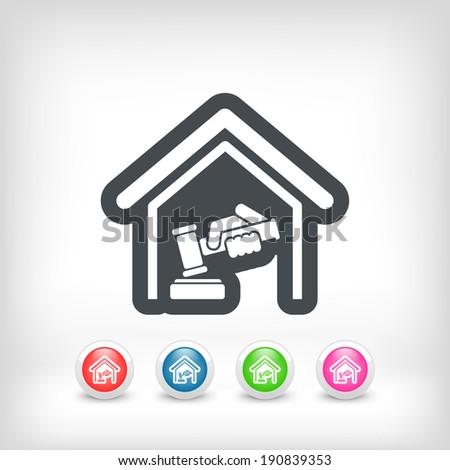 Court gavel icon - stock vector
