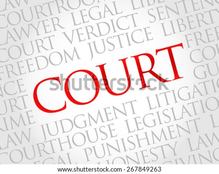 Court word cloud concept - stock vector