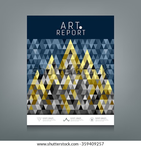 Cover annual report, Architecture concept colorful triangles geometric design, blue dark and gold abstract background, vector illustration - stock vector
