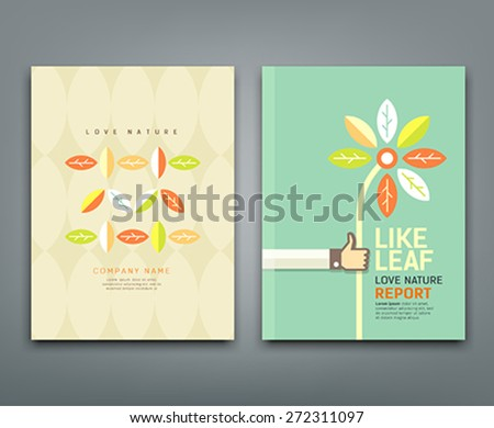 Cover annual report colorful leaf with flower in hand, flat concept design background, vector illustration - stock vector