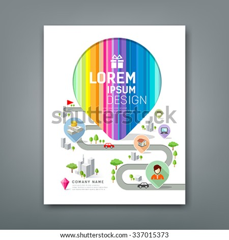 Cover Annual report colorful map pointer create design on white background, vector illustration - stock vector