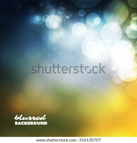 Cover Design Template with Abstract, Blurred, Colorful Background - Blue and Yellow - stock vector