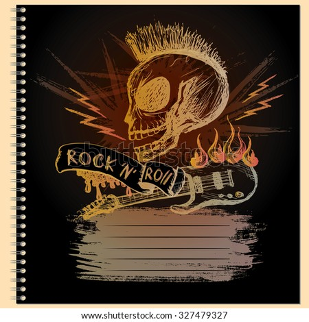 Cover for notebook with Rock and roll skull guitar, hand drawing, vector illustration - stock vector