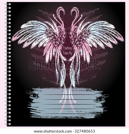 Cover for notebook with wings, hand drawing, vector illustration - stock vector