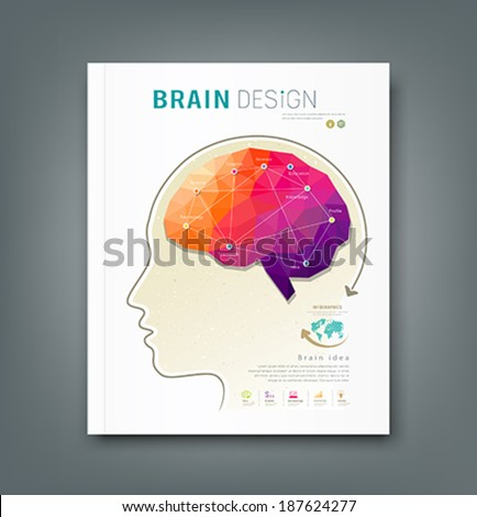 Cover Magazine skull and brain for business design background, vector illustration - stock vector