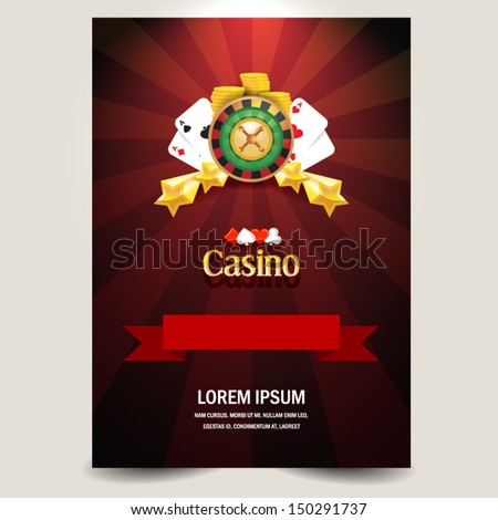 cover poster face casino element roulette card money - stock vector