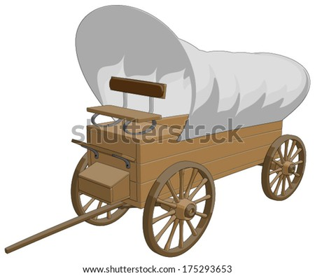 Covered Wagon -  Vector Artwork (isolated on white background). - stock vector