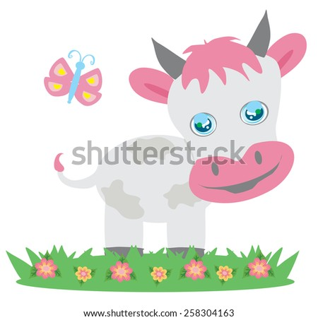 Cow and butterfly - stock vector