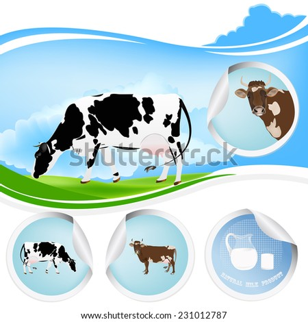 Cow.Farming dairy product.Fresh milk - stock vector