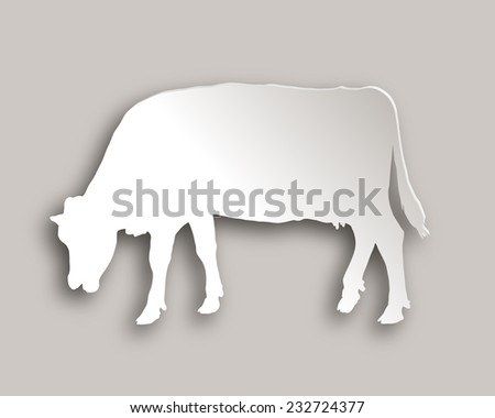Cow grazing paper style - stock vector