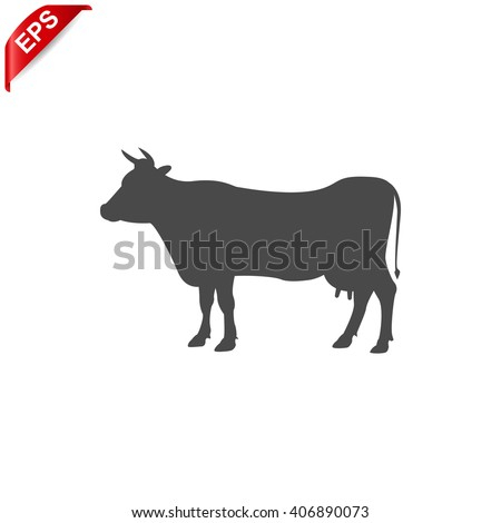 cow icon, vector silhouette cow, isolated cow sign - stock vector