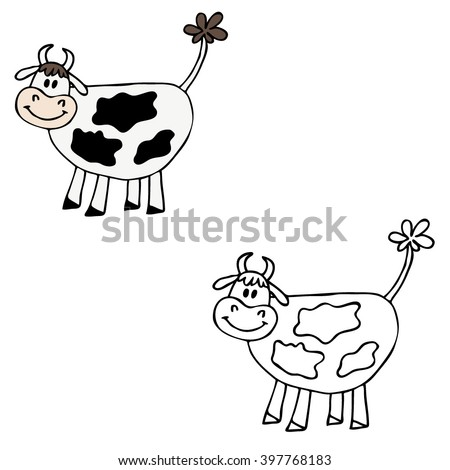 Cow in a cartoon style. - stock vector