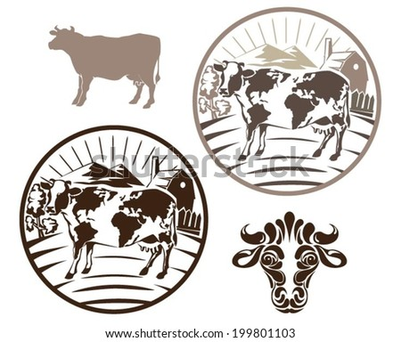 Cow label set - stock vector