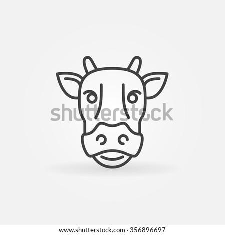 Cow line icon - vector cow head sign or calf logo - stock vector