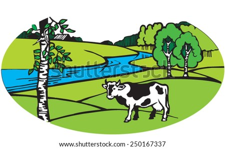 Cow on meadow. Illustration. Vector. Vector image. Landscape with cow. - stock vector