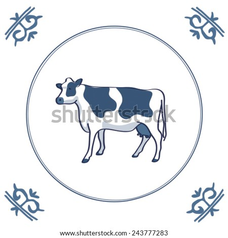 Cow on Tile - stock vector