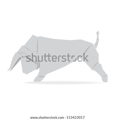 Cow origami paper ,Illustration eps 10 - stock vector