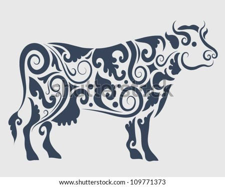 Cow ornament vector. Cow drawing with floral ornament decoration. Use for any design you want - stock vector