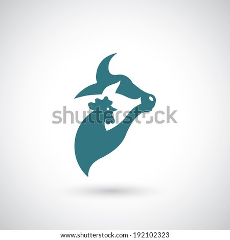 Cow, pig, chicken symbol - vector illustration - stock vector