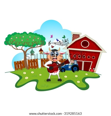 Cow playing guitar cartoon in a farm for your design - stock vector